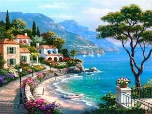 Диамантен гоблен Приказно градче на брега на морето