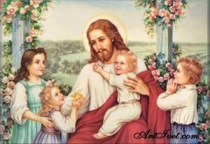 Диамантен гоблен ИСУС ПАЗИ ДЕЦАТА
